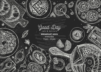 Chalkboard breakfast top view illustration. Various food background. Engraved style illustration. Hero image. Vector illustration