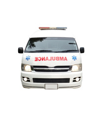 Ambulance car isolated on white background of file with Clipping Path .