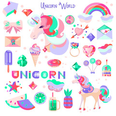 Set with a unicorn and pictures for stickers. Unicorn's head with closed eyes. Diamonds and crystals. Rainbow, cloud and heart. Accessories fairytale character. Image vector for postcard, poster