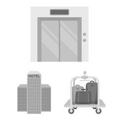 Hotel and equipment monochrome icons in set collection for design. Hotel and comfort vector symbol stock web illustration.