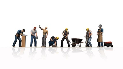 different workers with their tools - isolated on white background