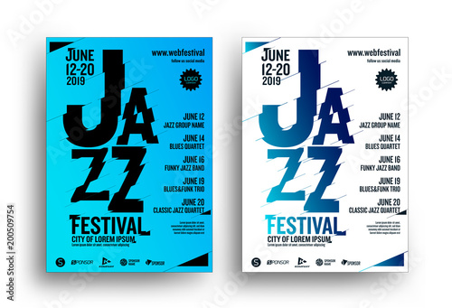 Jazz music poster design template  Creative jazz typography