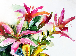 watercolor art  background floral  exotic spring flowers bouquet bloom painting bright  textured  decoration  hand beautiful colorful delicate romantic