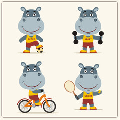 Set of funny hippo is engaged in sports. Collection of cartoon hippo of the sportsman: football player, with dumbbells, bicyclist, tennis player.