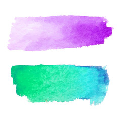 Set of abstract stains. Purple and green blue colors. Bright creative horizontal backdrop. Watercolor texture with brush strokes.Spots Isolated in white background. Trendy colorful design.Hand painted