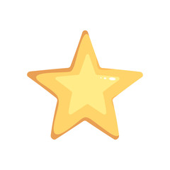 Vector cartoon isolated gold star. Magic element on white background