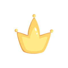 Vector cartoon isolated gold Crown. Magic element on white background
