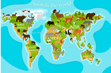Vector map of animals on a blue background