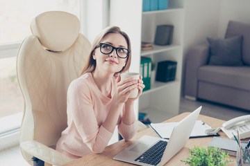 Leisure lifestyle blonde hair chill vacation day-off people person concept. Portrait of cute romantic beautiful lovely excited peaceful calm meditative pensive office worker with cup of latte in hands