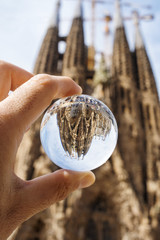 La Sagrada Familia, Barcelona, in a crystal ball