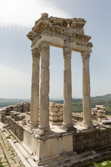ruins of the Temple of Trajan in the ancient Greek Roman city of Pergamon