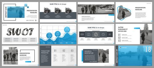 Abstract white, blue presentation slides. Modern brochure cover design. Fancy info banner frame. Creative infographic element set. Urban city font. Vector title sheet model. Ad flyer style template