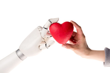 cropped image of robot and woman holding heart together isolated on white