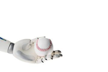 Robot hand holding white baseball ball isolated on white