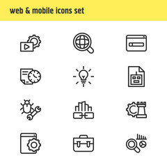 Vector illustration of 12 advertising icons line style. Editable set of bug fixing, longtime contract, game developing and other icon elements.