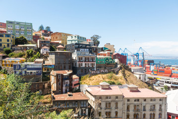 View on Cityscape of historical city Valparaiso, Chile. The colorful houses and hectic street in Valparaiso.