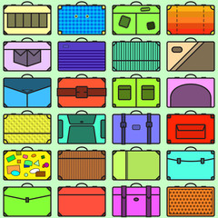 Seamless pattern with many different suitcases in flat style
