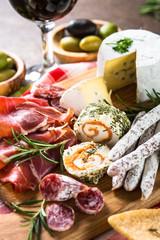 Antipasto delicatessen - sliced meat, ham, salami, cheese, olive