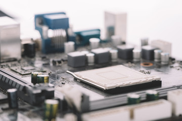 Typical desktop computer logic board close-up view