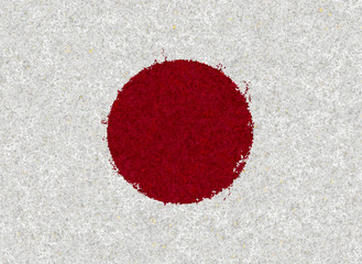 Illustraion of Japanese Flag with a floral pattern