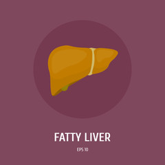 Fatty liver. Obesity of the internal organs of man. Diseases of the digestive system. Vector Flat Illustration