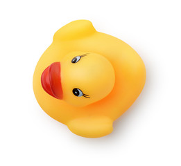 Top view of yellow rubber bath duck