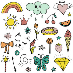 Vector set of lovely hand-drawn stickers. Isolated illustrations.