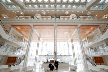 Inside view of the new Paris courthouse, designed by Italian architect Renzo Piano during a press visit in Paris