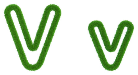 Letter V of green fresh grass isolated on a white background. 3d rendering