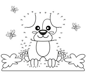 Cute cartoon dog. Dot to dot game