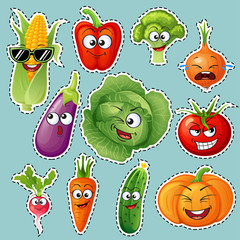 Cartoon vegetable characters. Vegetable emoticons. Sticker. Cucumber, tomato, broccoli, eggplant, cabbage, peppers, carrots, onions, pumpkin, radish, corn