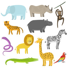 Cute cartoon flat tropical and jungle animals set. Childish illustration of savanna or safari animals for kids book design, stickers, educational and fun games, print, coloring books, mobile apps