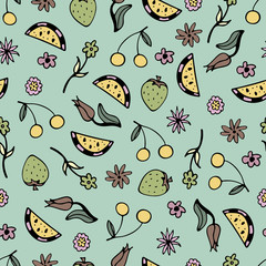 Lovely seamless pattern with hand-drawn fruit and flowers.