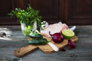Raw chicken, lemongrass, red onion, lime, parsley, jalapenos
