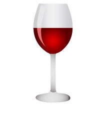 Red wine glass.Realistic glass on white background. Vector illustration