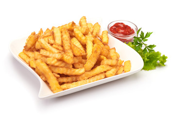 Fried potato fries with ketchup, isolated on white background.