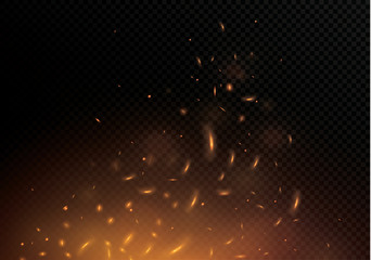Flame of fire with sparks on a black background. The texture of the fiery storm. The fiery sparks of Boke's lights flash, a shot of a flying spark in the air.over a dark night.