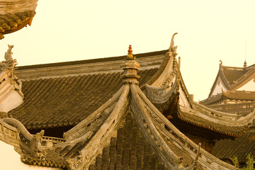 Detail of roofs at Yuyuan Gardens (Yu Garden), Shanghai, China, Asia