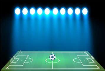 football stadium with a ball on a football field and searchlight with an abstract glitter light. viewers at a football stadium at night, vector illustration.