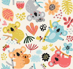 Seamless pattern with a koala