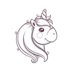 Cute head of unicorn. Monochrome