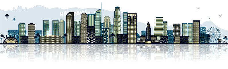 Los Angeles Hollywood Chicago Kalifornien USA Skyline Silhouette Wall mural