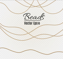 A beautiful chain of Golden color.String beads are realistic insulated. Decorative element of gold bead design.vector illustration.