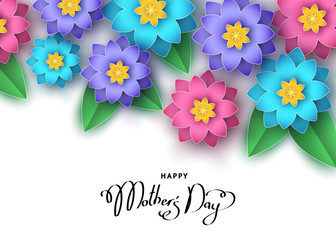 Happy mother's day banner template with abstract paper cut  flowers.