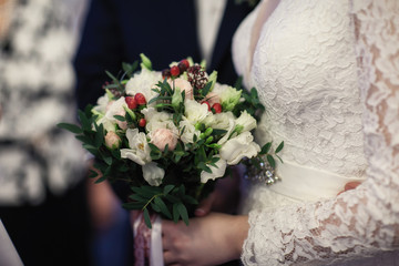 bridal bouquet in hands closeup