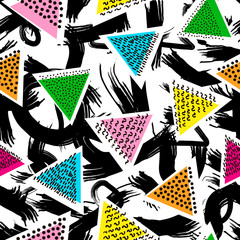 Creative seamless pattern. Abstract elements and colorful triangles. Hand drawn brushes design.