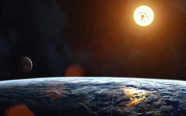 Earth's landscape. Moon. Solar System. Image in 5K resolution for desktop wallpaper. Elements of the image are furnished by NASA