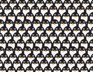 Penguins group vector pattern background