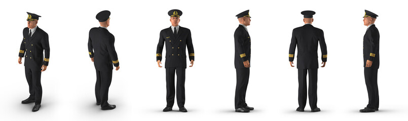 Passenger plane pilot renders set from different angles on a white. 3D illustration