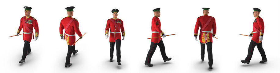 Irish Guard Sergeant renders set from different angles on a white. 3D illustration